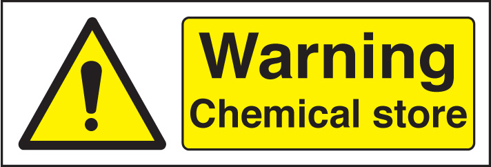 Warning Chemical Store Adhesive Sign Nexus Cleaning Supplies