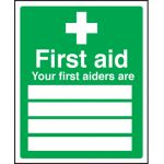 First Aid - First Aiders Name Sign - Self Adhesive