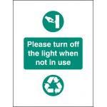 Turn Off Light When Not In Use Sign - Self Adhesive
