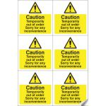 Out Of Order Easy Peel Self Adhesive Sign Sheet