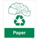 Paper Recycling Sign - Rigid Plastic - Large