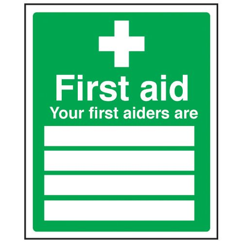 First Aider Name Sign Plastic Sign From Nexus Cleaning